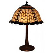 GEOMETRIC CREAM WITH COPPER FILIGREE PATTERN 16 INCH LEADLIGHT TABLE LAMP