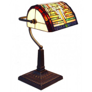 GEOMETRIC LEADLIGHT BANKERS LAMP