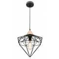 DIAMOND CAGE MATT BLACK INCL TIMBER HIGHLIGHT PENDANT