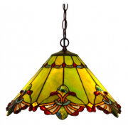 GREEN PANEL 19 INCH LEADLIGHT PENDANT