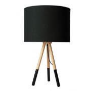 TRIPOD WOOD AND BLACK TABLE LAMP