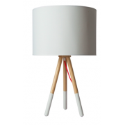 TRIPOD WOOD AND WHITE TABLE LAMP