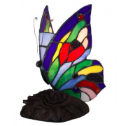 MULTI COLOUR BUTTERFLY LEADLIGHT TABLE LAMP