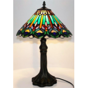 MULTICOLOUR FLOWER 12 INCH LEADLIGHT TABLE LAMP