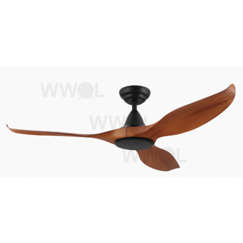NOOSA THREE BLADE DC 132CM ABS PLASTIC TEAK MATT BLACK INCL 5 SPEED REMOTE CEILING FAN