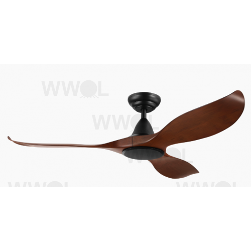 NOOSA THREE BLADE DC 132CM ABS PLASTIC AGED ELM MATT BLACK INCL 5 SPEED REMOTE CEILING FAN