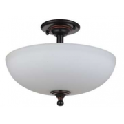 NOVA THREE LIGHT BRONZE SEMI FLUSH PENDANT