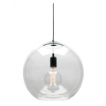 LARGE CLEAR GLASS SPHERE BLACK PENDANT