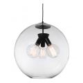 LARGE THREE LIGHT CLEAR GLASS SPHERE BLACK PENDANT