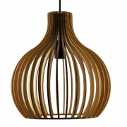 BELL LARGE RIBBED TIMBER ONE LIGHT PENDANT