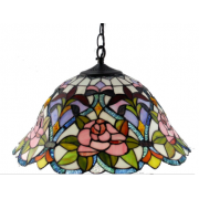 16 INCH PINK FLOWER MULTI COLOURED LEAD LIGHT PENDANT