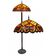 PEACH RED LEAVES WITH JEWELS 22 INCH LEADLIGHT FLOOR LAMP