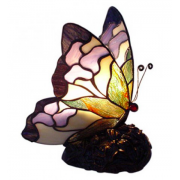 PINK BUTTERFLY LEADLIGHT TABLE LAMP