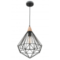 PRISM DIAMOND CAGE MATT BLACK INCL TIMBER HIGHLIGHT PENDANT