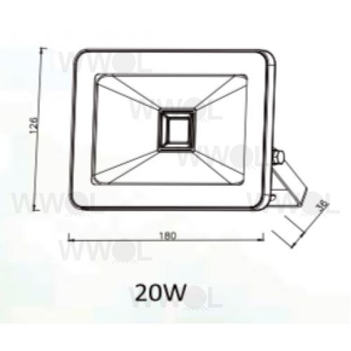 riva 20w led slim sensor flood light black