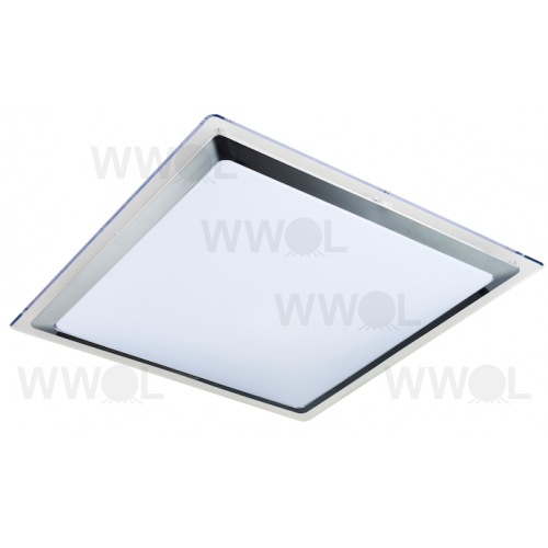 SATURN SQUARE 30 WATT LED 3000K OPAL POLY CARB INCL CHROME TRIM SURFACE MOUNT LIGHT