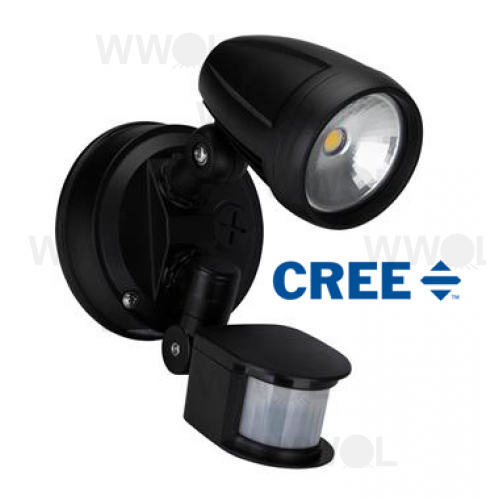 15 WATT LED SINGLE SPOT BLACK 5000K NATURAL WHITE INC SENSOR