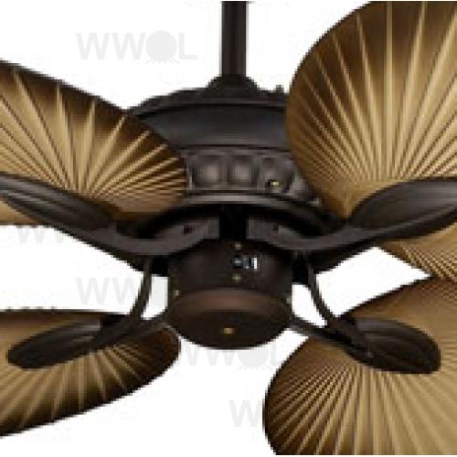St tropez ii 130cm oiled rubbed bronze tropical palm blade fan aloadofball Choice Image