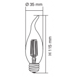 4 WATT LED CANDLE FLAME FILAMENT E27 3000K WARM WHITE GLOBE