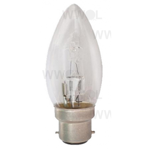 18 WATT B22 HALOGEN CANDLE CLEAR GLOBE