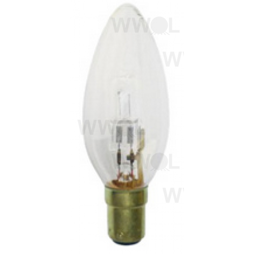 18 WATT B15 HALOGEN CANDLE CLEAR GLOBE