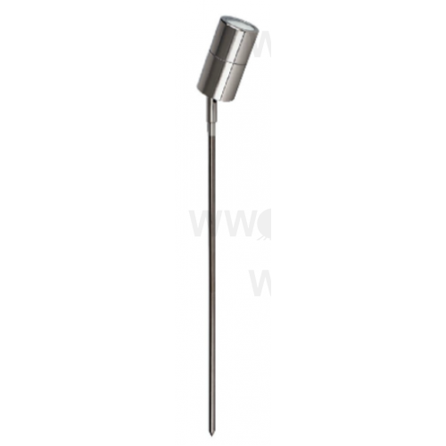 5 WATT LED SINGLE 12 VOLT ADJUSTABLE SPIKE SPOT WARM WHITE ANODISED ALUMINIUM TITANIUM LONG SPIKE