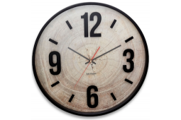 ZONE 48CM WOOD WITH BLACK ROUND WALL CLOCK
