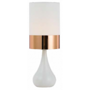 TEAR DROP WHITE & COPPER TABLE LAMP