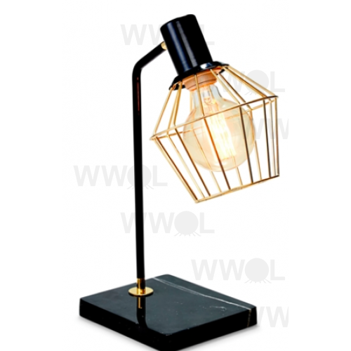GOLD WITH BLACK MARBLE 44CM TABLE LAMP
