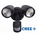 TWIN 30 WATT LED SPOT 3000K WARM WHITE INCL SENSOR BLACK