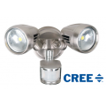 TWIN 30 WATT LED SPOT 3000K WARM WHITE INCL SENSOR BRUSHED NICKEL