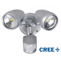TWIN 30 WATT LED SPOT 5000K NATURAL WHITE INCL SENSOR SILVER