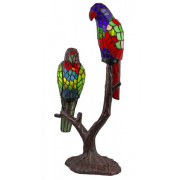TWIN PARROT LEADLIGHT TABLE LAMP