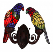 TWIN PARROT LEADLIGHT WALL LIGHT