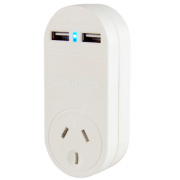 TWIN OUTLET 1 AMP USB CHARGER WITH SURGE PROTECTED MAINS OUTLET