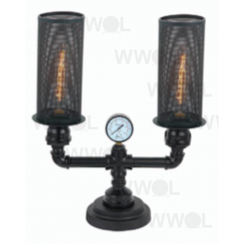 GAS WORKS AGED IRON 2 LIGHT TABLE LAMP