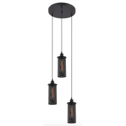 GAS WORKS AGED IRON 3 LIGHT PENDANT