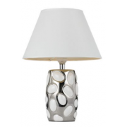 WHITE AND CHROME OVAL TABLE LAMP