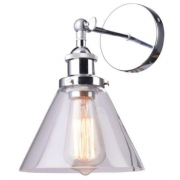 HAMPTONS CONE CHROME CLEAR GLASS WALL LIGHT