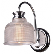 HAMPTONS CHROME RIBBED GLASS ONE LIGHT WALL LIGHT