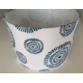 MASON AND FINCH DRUM AQUA RIPPLE LAMP SHADE 300(T) X 300(B) X 200(H)