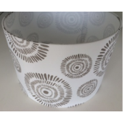 MASON AND FINCH DRUM GREY RIPPLE LAMP SHADE 300(T) X 300(B) X 200(H)