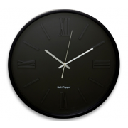 ZONE 40CM BLACK EMBOSSED FACE ROUND CLOCK