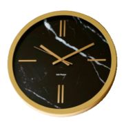 ZONE 45CM GOLD AND BLACK MARBLE ROUND WALL CLOCK