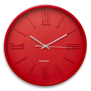 ZONE 40CM RED EMBOSSED FACE ROUND CLOCK