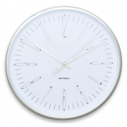 ZONE 38CM WHITE AND SILVER ROUND WALL CLOCK