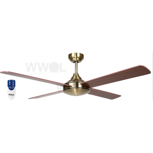 AIR SYNERGY II 120CM ANTIQUE BRASS CEILING FAN REMOTE PACKAGE