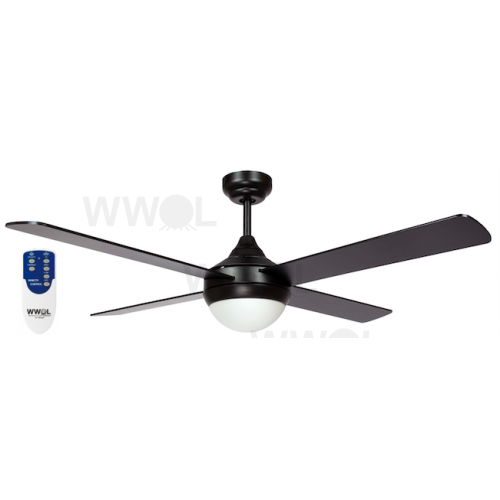 AIR SYNERGY II 106CM MATT BLACK CEILING FAN LIGHT REMOTE PACKAGE