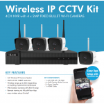 4 CHANNEL 4 X 2MP IP CCTV WI-FI KIT